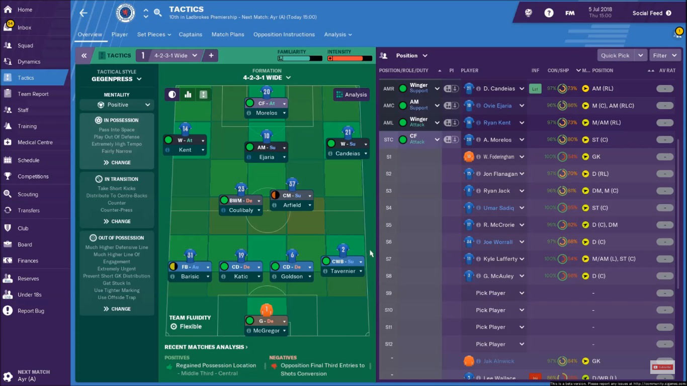 glasgow rangers football manager 2019 tactic