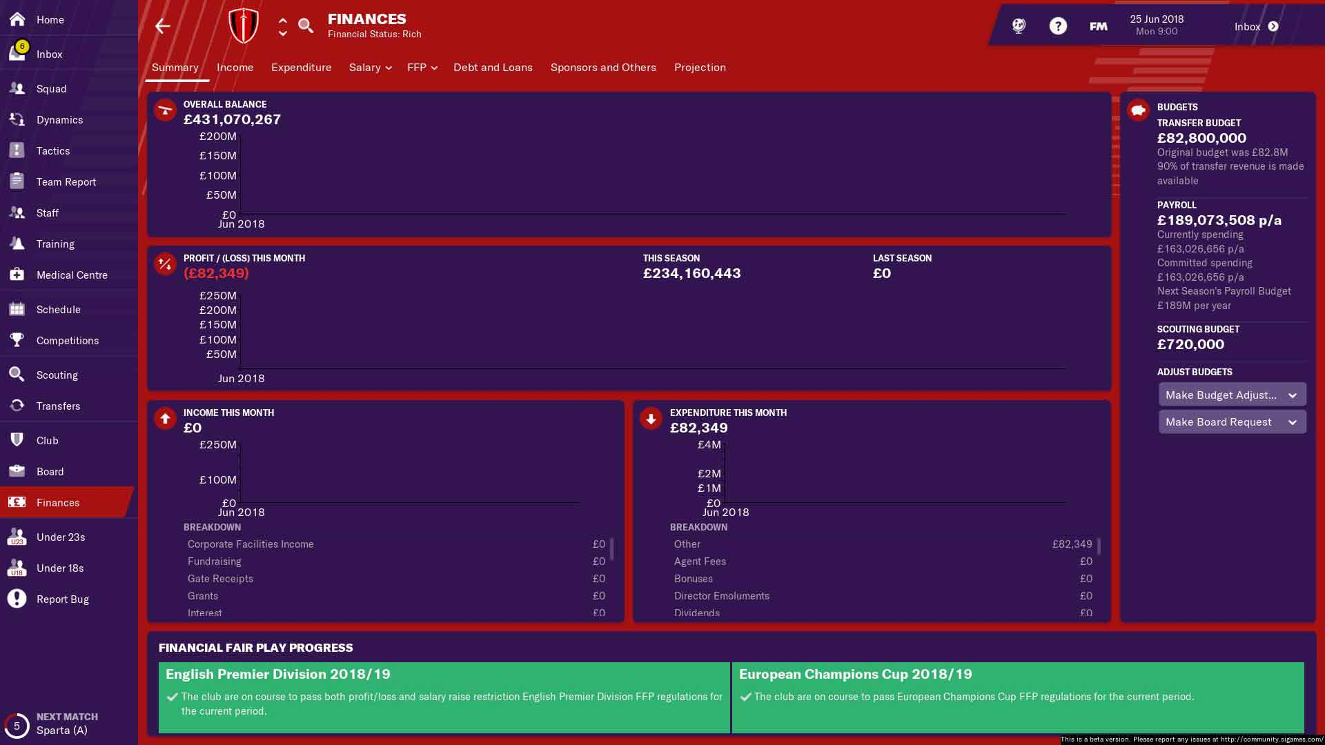 manchester united fm19 finances