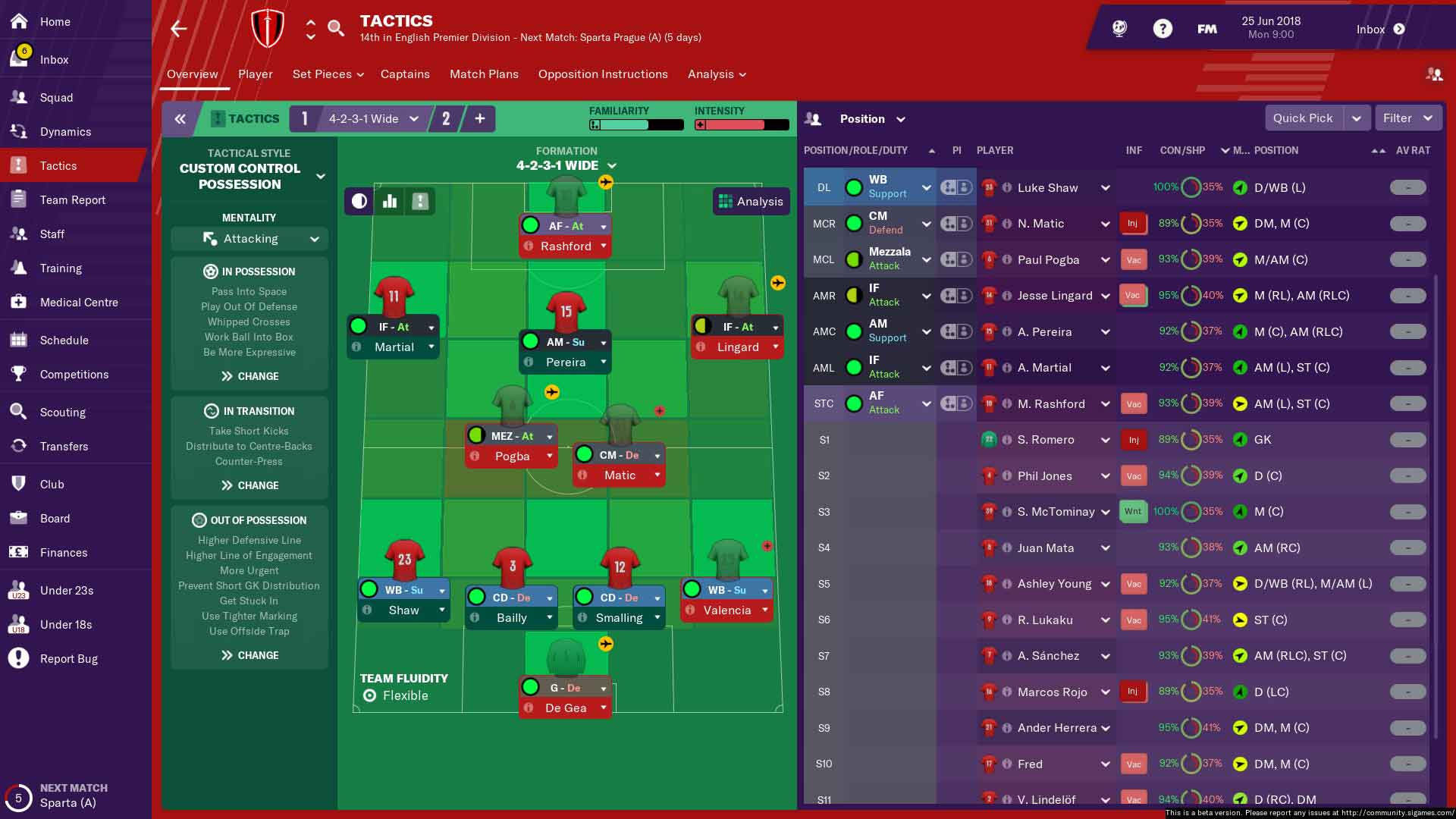 manchester united fm19 first team