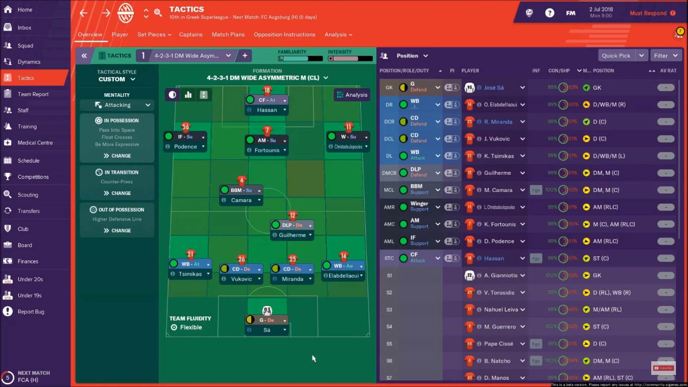 olympiacos fm19 tactic