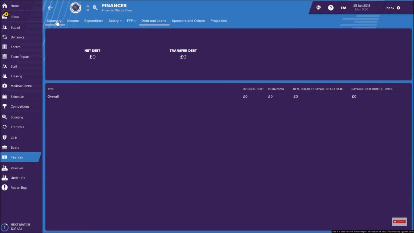 rangers fm19 debts and loans