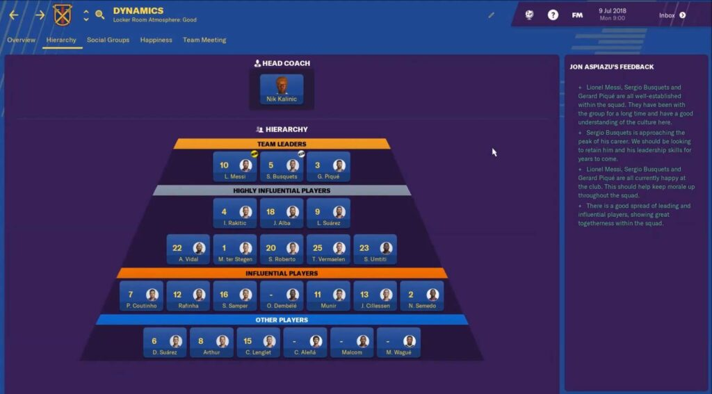 barcelona football manager 2019 team dynamics