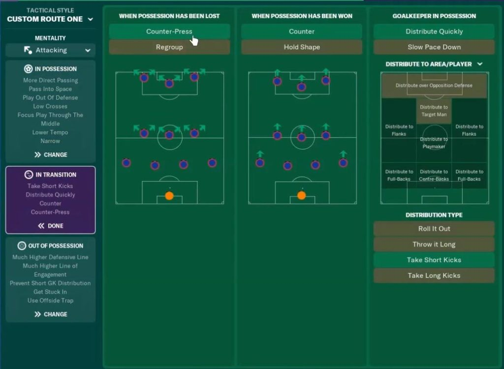 4-3-3 FM19 Tactic in Transition instructions