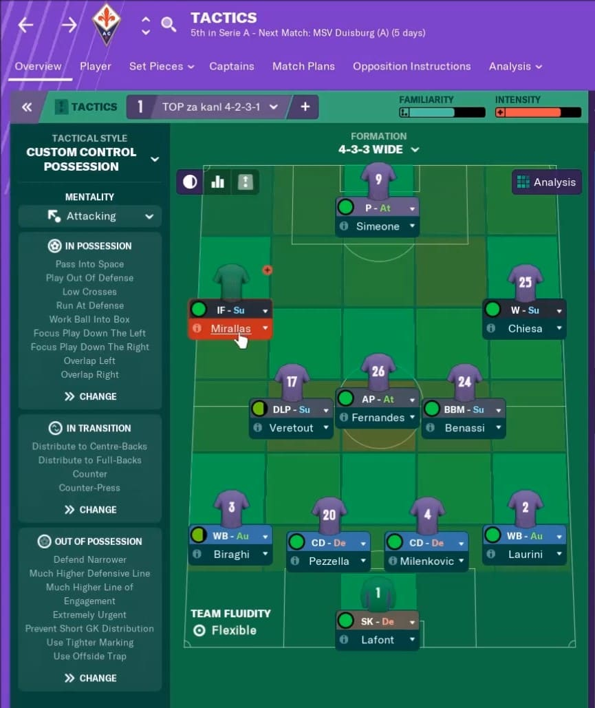 fiorentina fm19 tactics - fiorentina football manager 2019