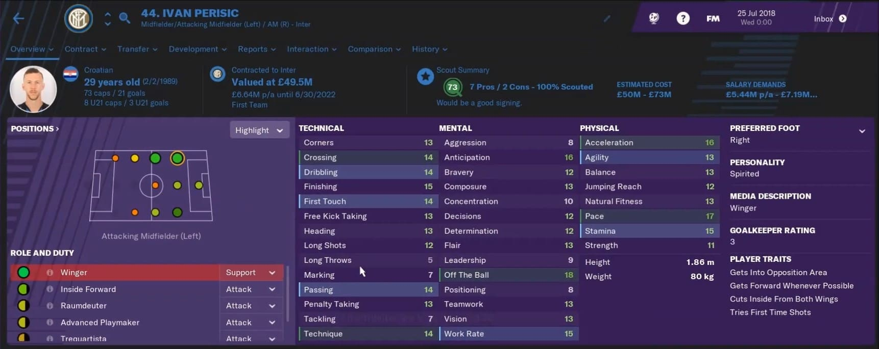 ivan perisic fm19 - perisic football manager 2019