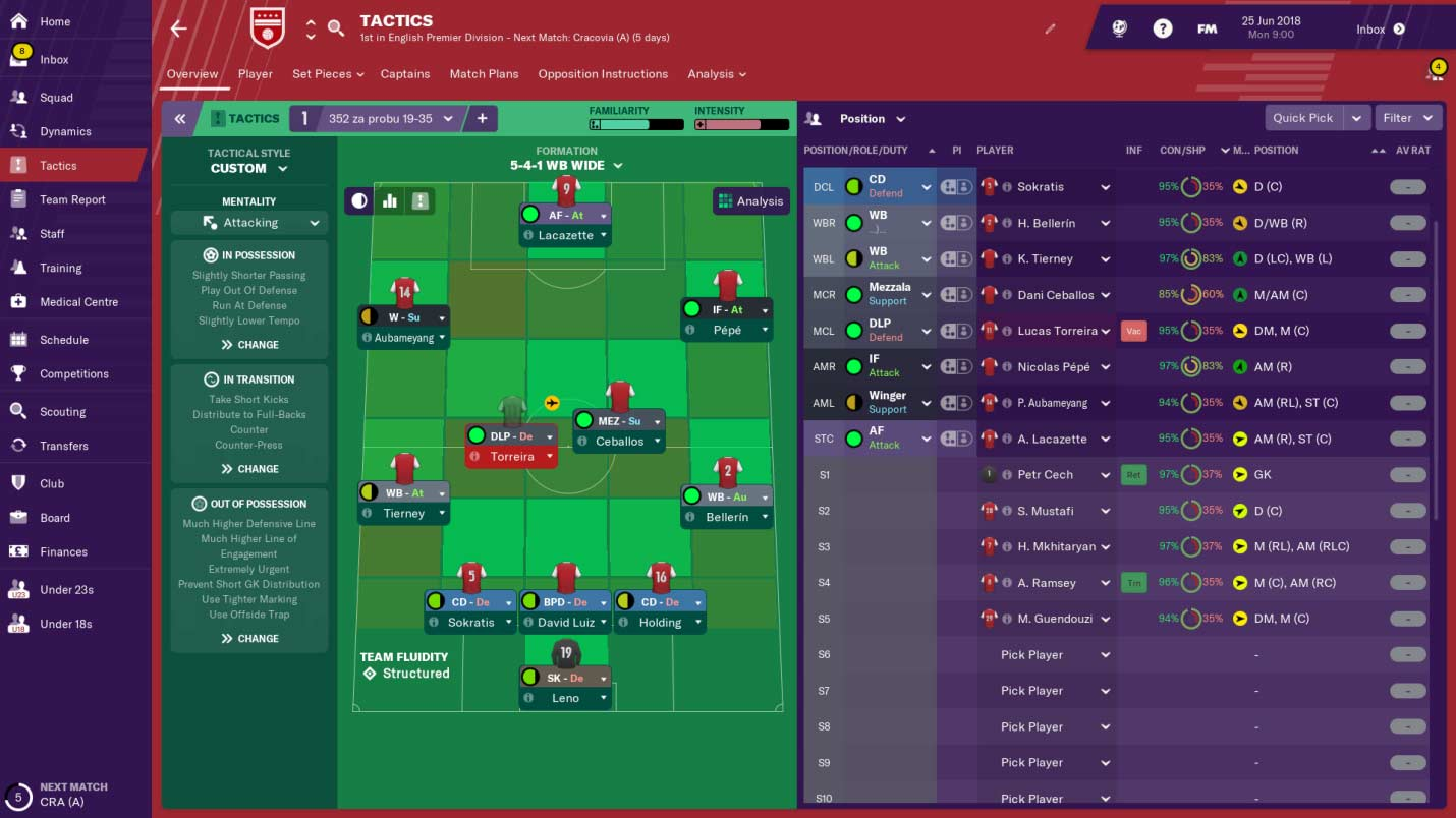 arsenal fm20 tactics
