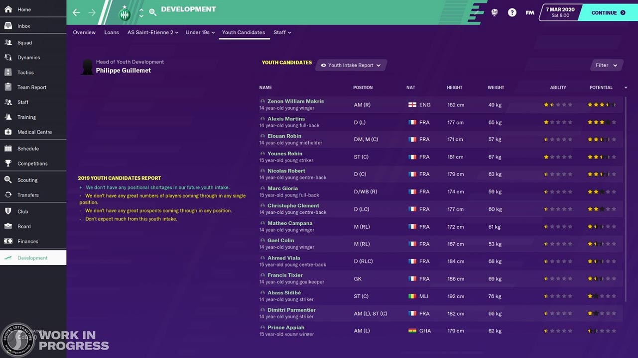 development center in fm20 youth intake preview