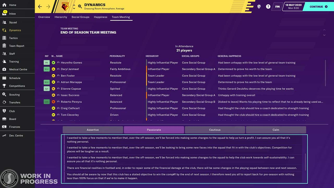 Additional talking points for end of season meetings is a new feature in fm20