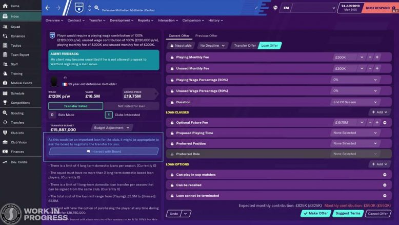 board request for loans - new feature in Football Manager 2020