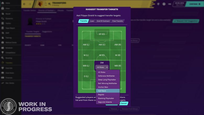 DoF and roles in Football Manager 2020