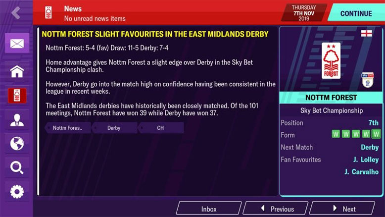 rivalries in fm20 mobile