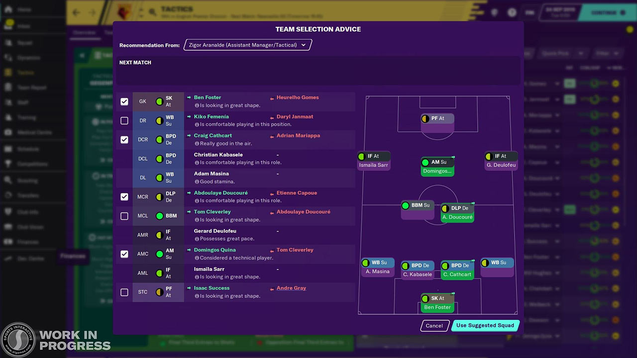 team selector in football manager 2020