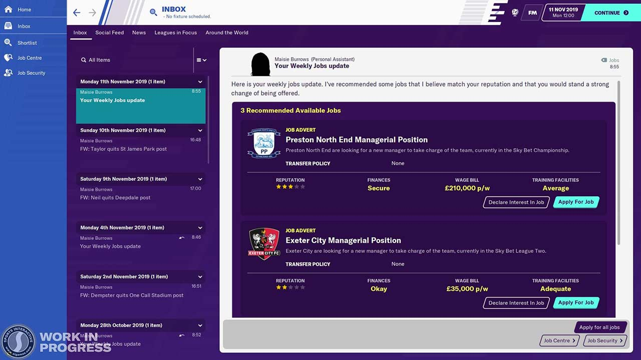 unemployed experience in fm20 new feature
