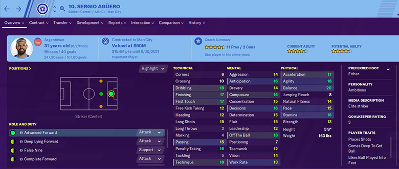 sergio kun aguero in fm20 stats - football manager 2020 sergio kun aguero stats