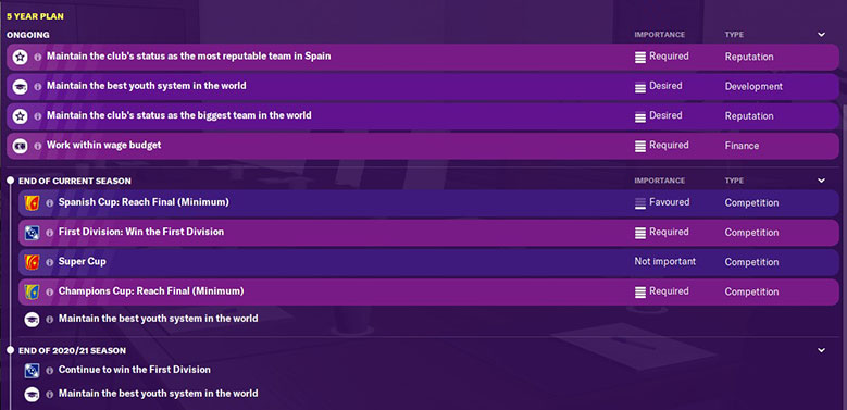 barcelona 5 year plan in football manager 2020