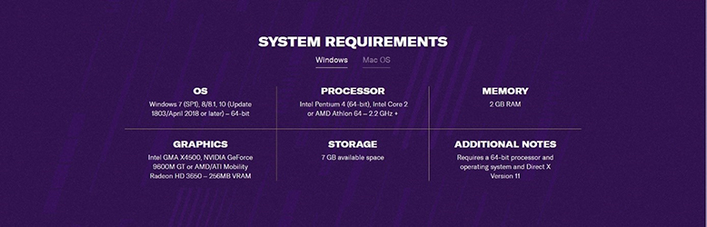 windows system requirements football manager 2020