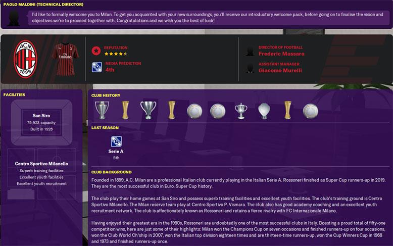 ac milan history fm20 and club background - ac minal fm 20 club background