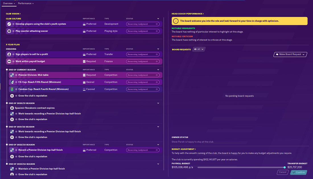 crystal palace fm20 board expectations - fm20 crystal palace board