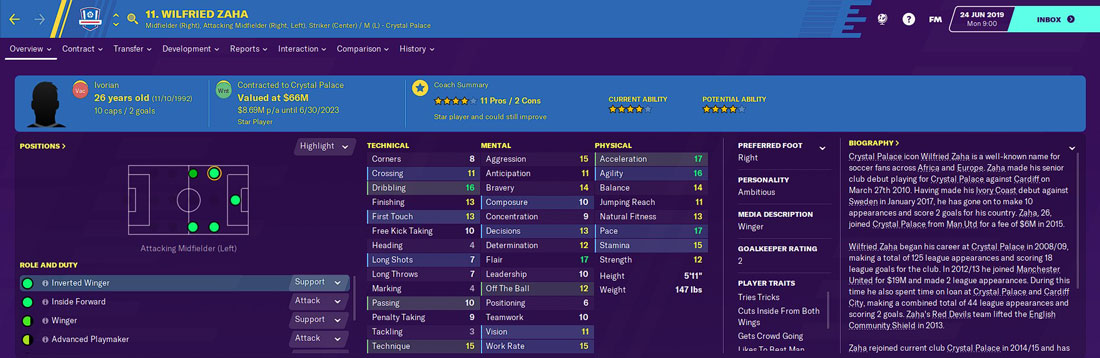 wilfried zaha fm20 - the best football manager 2020 crystal palace player